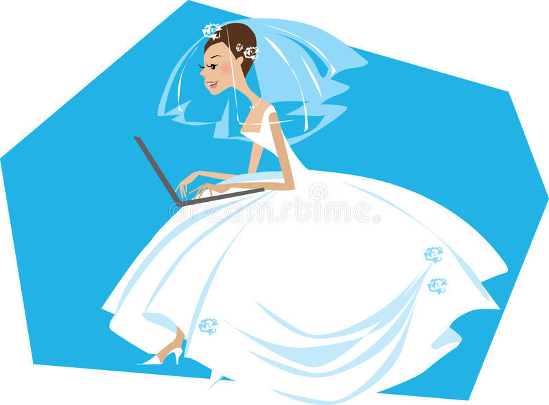 Bride Working On A Computer Royalty Free Stock Image
