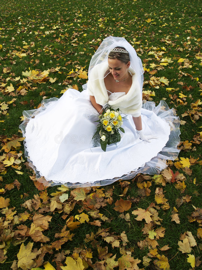 Bride in Yelow Leaves stock images