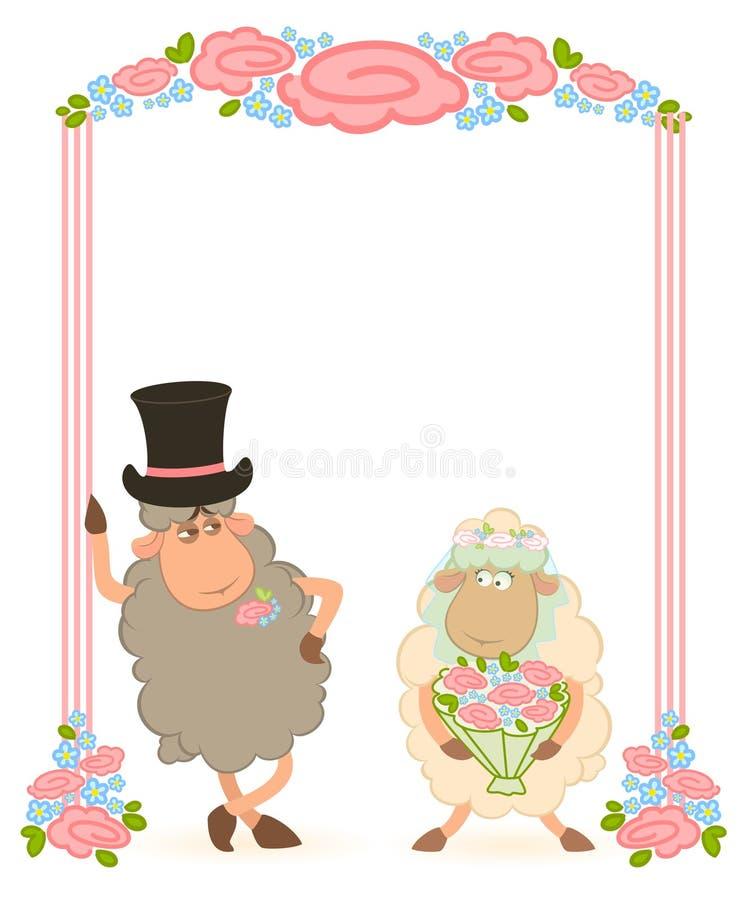 Bridegroom and bride stock illustration