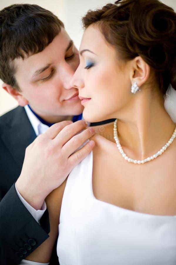 Bridegroom and bride stock photo