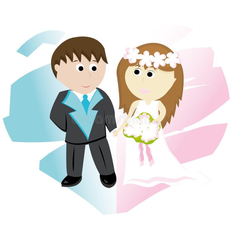 Bridegroom and bride vector illustration