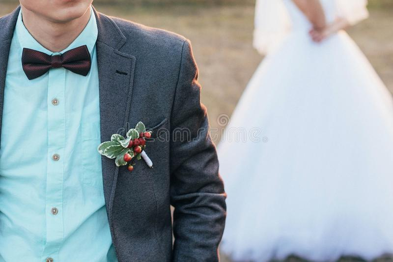 The bridegroom in the foreground, and the bride in the back. royalty free stock photos