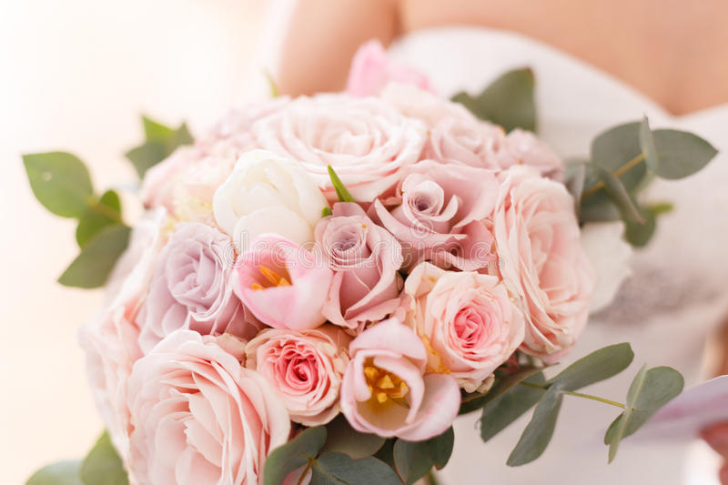 Brides bouquet of roses, tulips and eucalyptus royalty free stock image