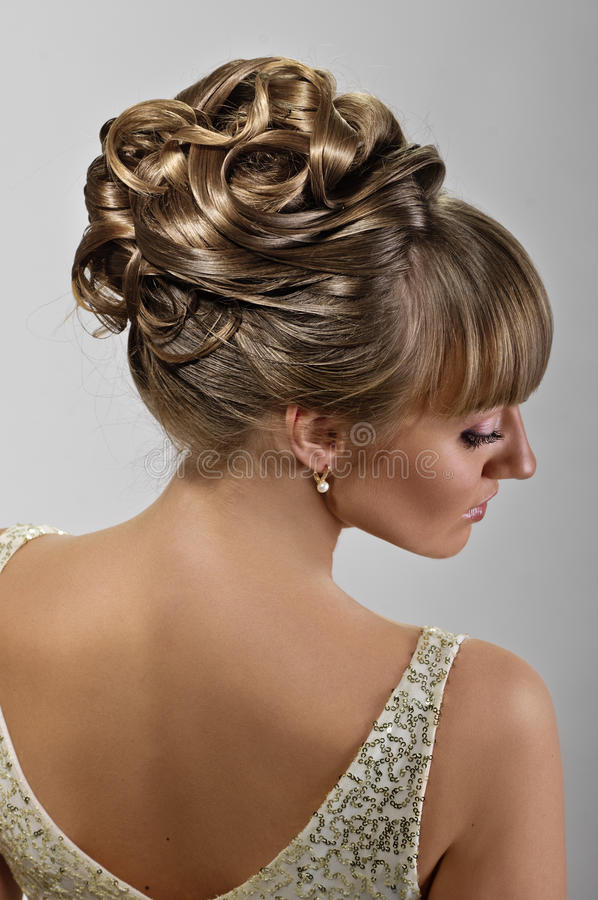 Beautiful wedding hairstyle royalty free stock photography