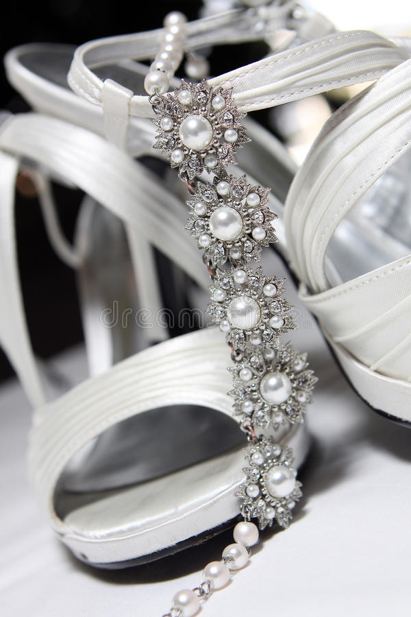 Download Brides Shoes And Necklace - Close Up Stock Photo - Image: 15599250