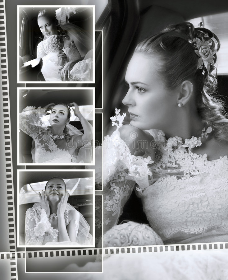 Brides wedding album montage royalty free stock photo