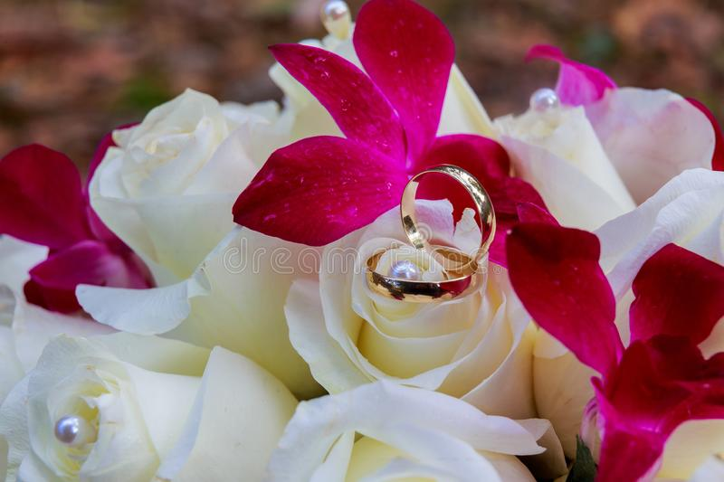 Bridesmaid or bride holding bouquet of pale white and pinkish roses wedding stock image