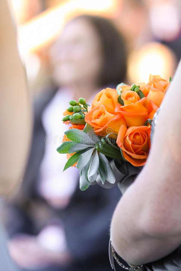 Bridesmaid with flower bouquet royalty free stock image