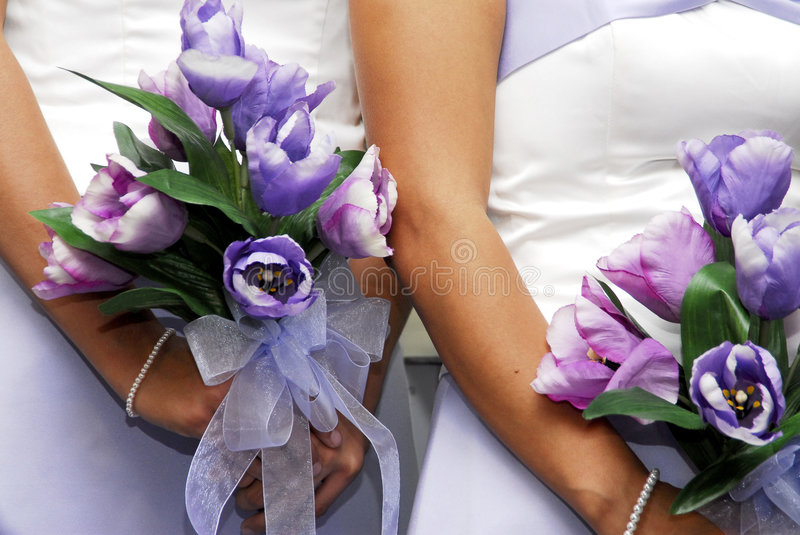 Bridesmaids Bouquets royalty free stock image