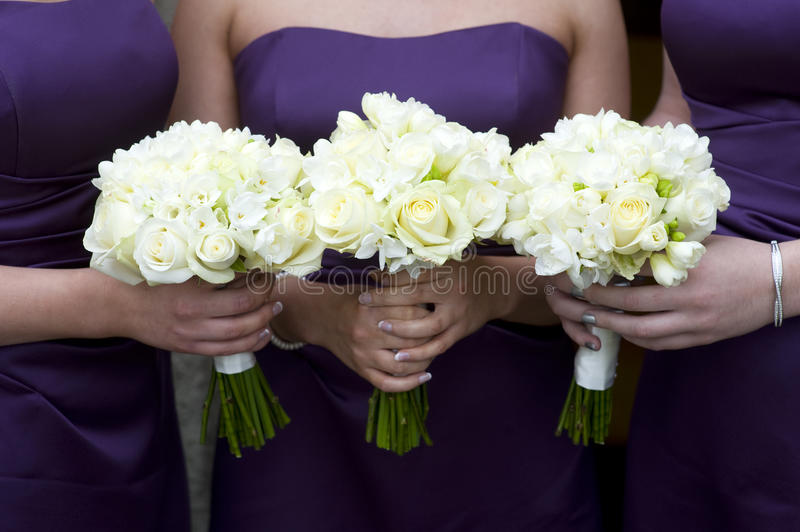 Bridesmaids with flowers royalty free stock image