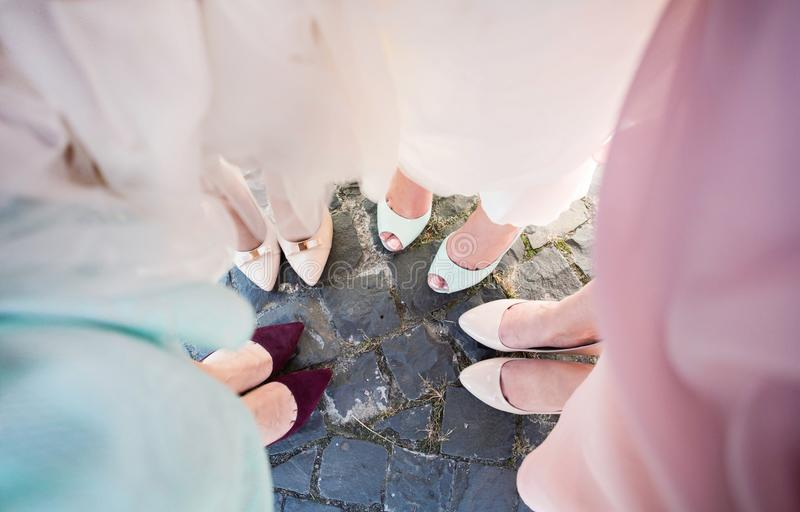 Bridesmaids legs. Bride with her girlfriends in coloured beautiful dresses in wedding party stock photos