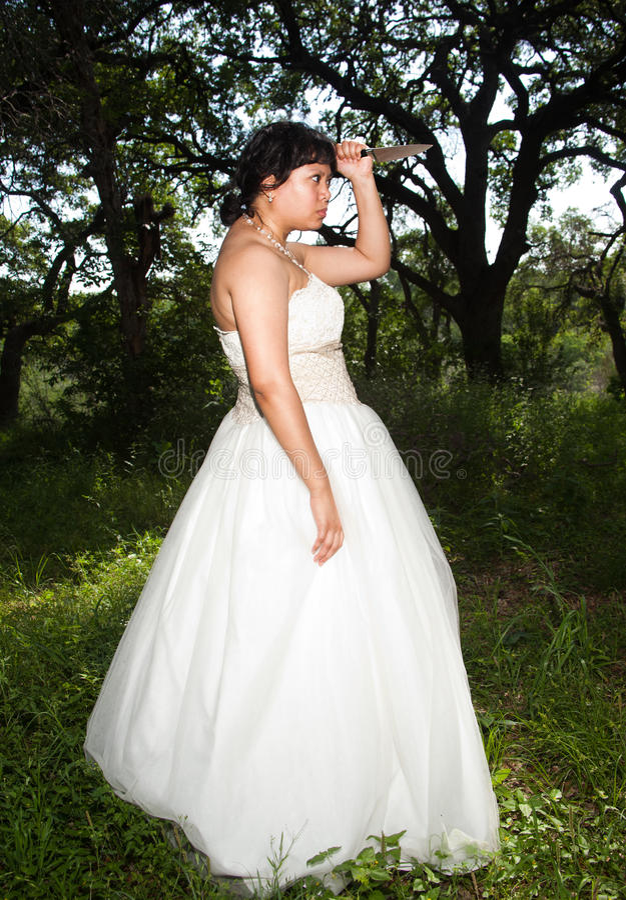 Bridezilla με το μαχαίρι κέικ στοκ εικόνες με δικαίωμα ελεύθερης χρήσης