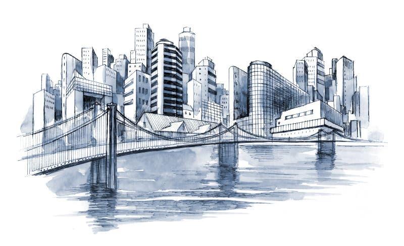 Bridge. To modern urban city vector illustration