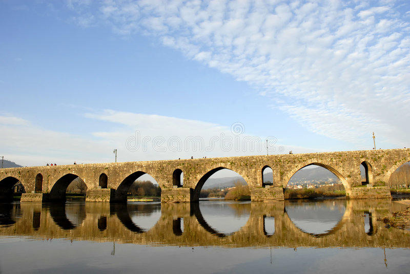 Bridge. Ancient roman bridge detail in the north of portugal stock image