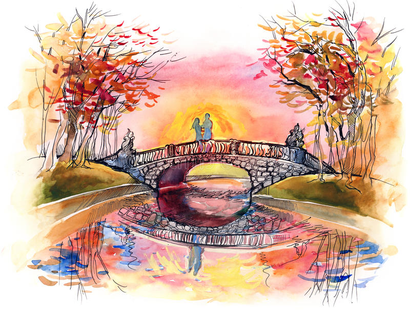 Download On the bridge stock illustration. Illustration of motivation - 22409094