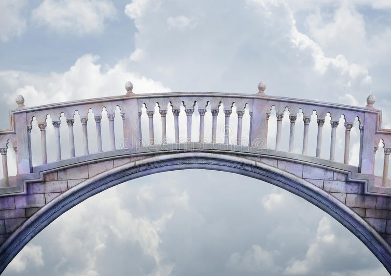 Bridge. A marble columned bridge arches and spans over a light cloudy sky. Concept for a connection