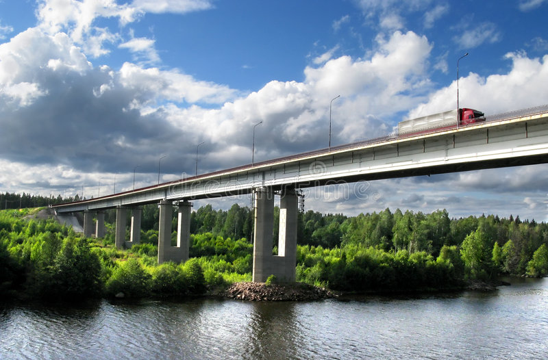 Bridge. Over Saima channel, Baltic sea, highway Scandinavia stock photo