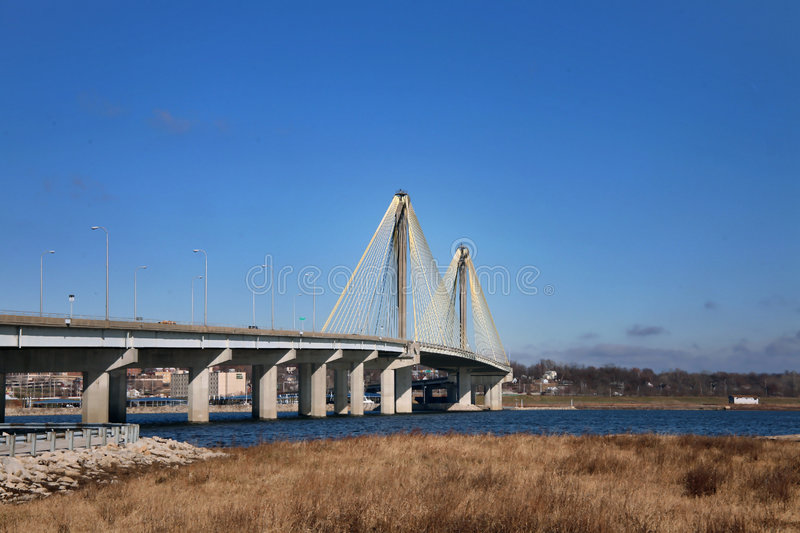 Download Bridge stock image. Image of cables, river, grass, structure - 7493543