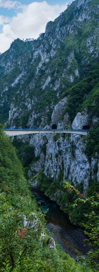 Bridge above Piva River canyon evening view in Montenegro stock photography