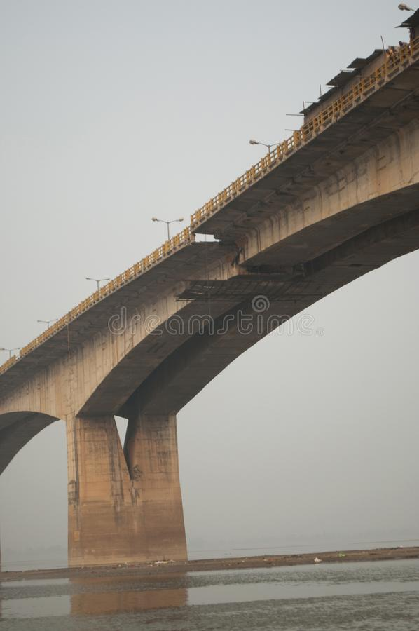 Bridge above the Ganges river in Patna, India. Is being refurbished in December 2013 royalty free stock photos