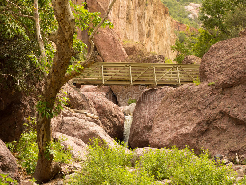 A bridge across a canyon in new mexico. A walkway over a man-made river in the desert royalty free stock photo