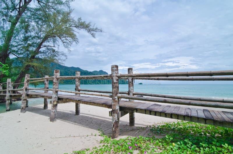 Bridge across Datai beach, Langkawi, Malaysia royalty free stock photo
