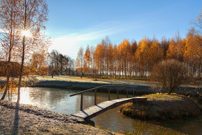 Bridge across the lake. royalty free stock photo
