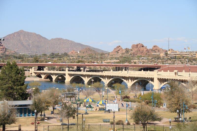 USA, Arizona/Tempe: Beach Park and Mill Avenue Bridge stock images