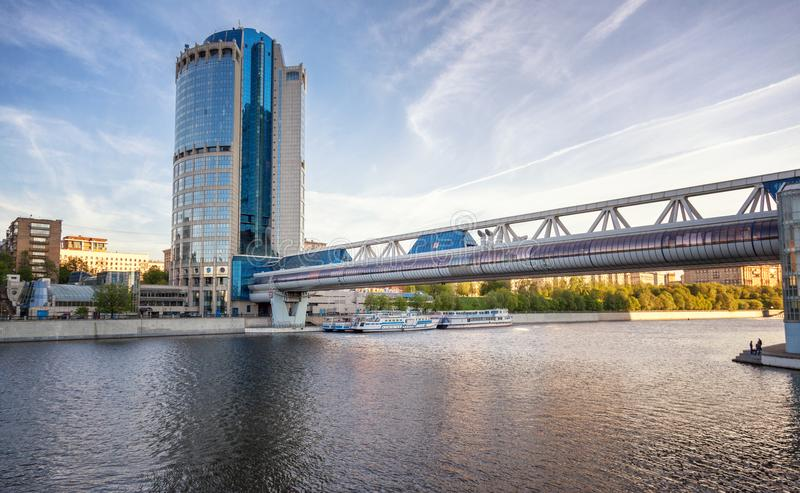 A bridge across the river in the center of Moscow, the capital o stock photography