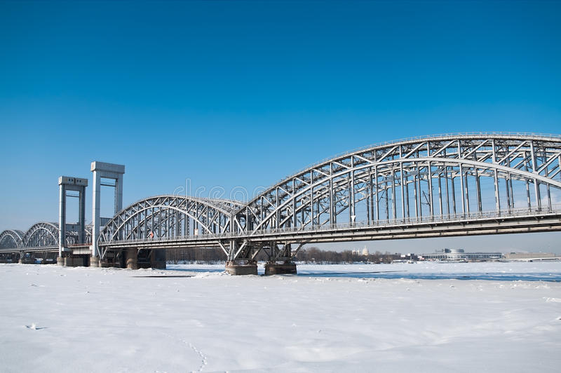 Bridge across the river Neva in winter royalty free stock photos