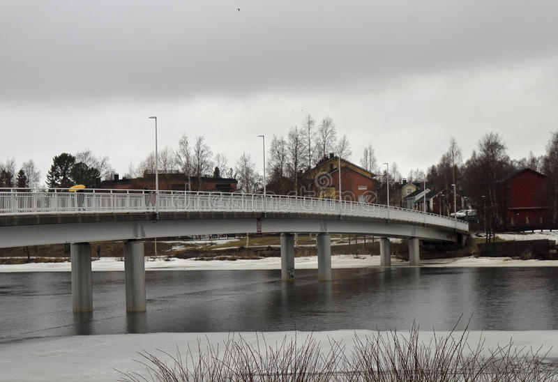 Bridge across river Oulujoki in Oulu. Finland royalty free stock image