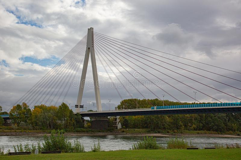 The bridge across the river rhine close to Neuwied with concrete pylon and steel cables stock image