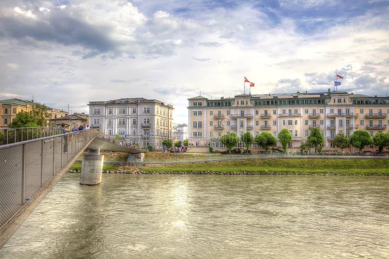 Bridge across the river Salzach vector illustration