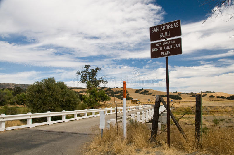 Bridge across San Andreas Fault. This is the bridge across the San Andreas fault - the piers are drifting apart at an alarming rate. The two signs state that stock photography