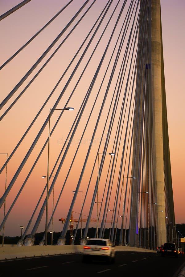 Download Bridge Ada in Belgrade stock photo. Image of reflection - 33436080