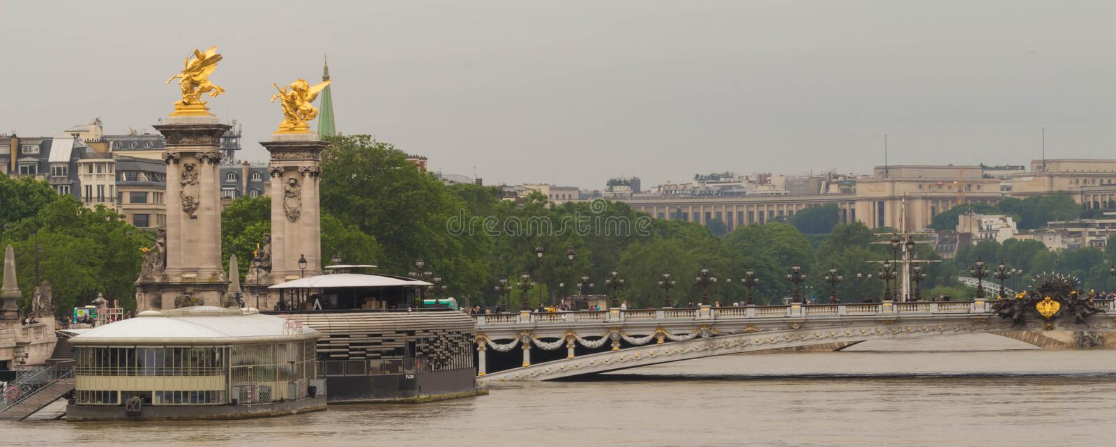 The bridge Alexandre III and Seine river in flood, Paris, France stock photo