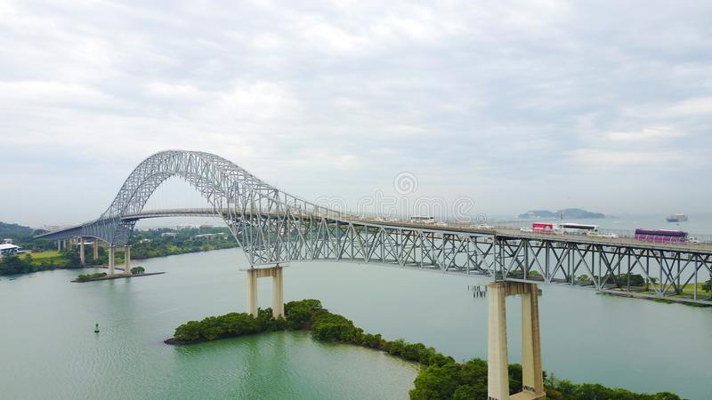 Bridge of The Americas across the Panama Canal. PANAMA CITY, PANAMA-OCT 13,207: The Bridge of the Americas, a road bridge in Panama, which spans the Pacific royalty free stock photo