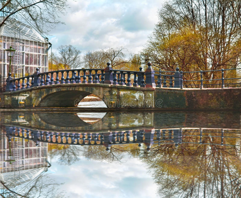 Bridge in Amsterdam canals Holland royalty free stock photos