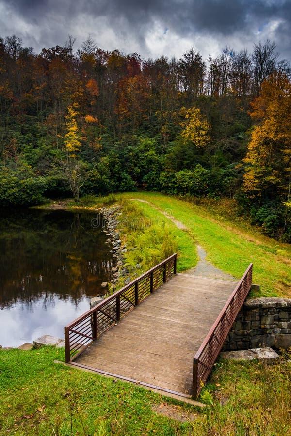 Free Bridge And Pond At Julian Price Park, On The Blue Ridge Parkway Royalty Free Stock Image - 47639476