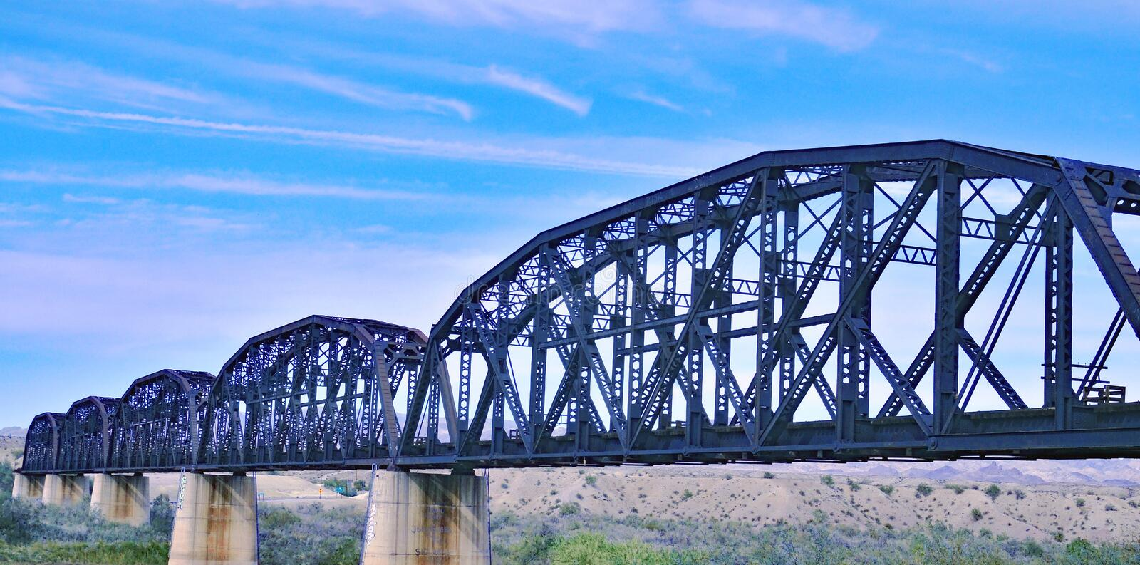 Details Of Steel Railroad Bridge Over Colorado River stock photography