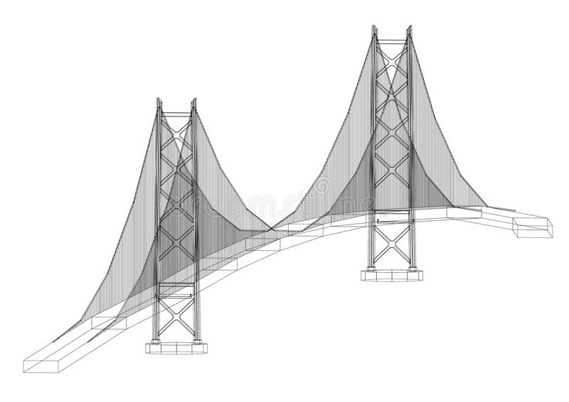 Bridge Architect Blueprint - isolated vector illustration
