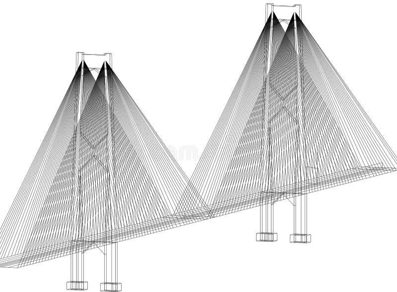 Bridge Architect Blueprint - isolated royalty free illustration