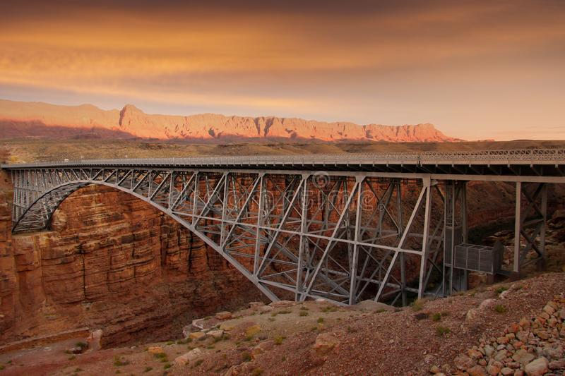 Bridge at Arizona and Utah border. Near Page Arizona across Colorado river stock photos