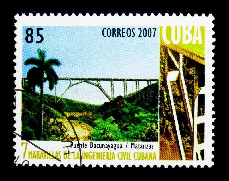 Bridge Bacunayagua, Matanzar, 7 wonders of Cuban engineering ser. MOSCOW, RUSSIA - NOVEMBER 25, 2017: A stamp printed in Cuba shows Bridge Bacunayagua, Matanzar royalty free stock image