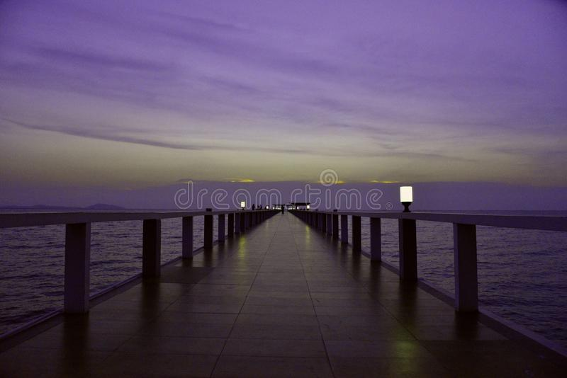 The bridge in Bangsaen.Thailand stock photography