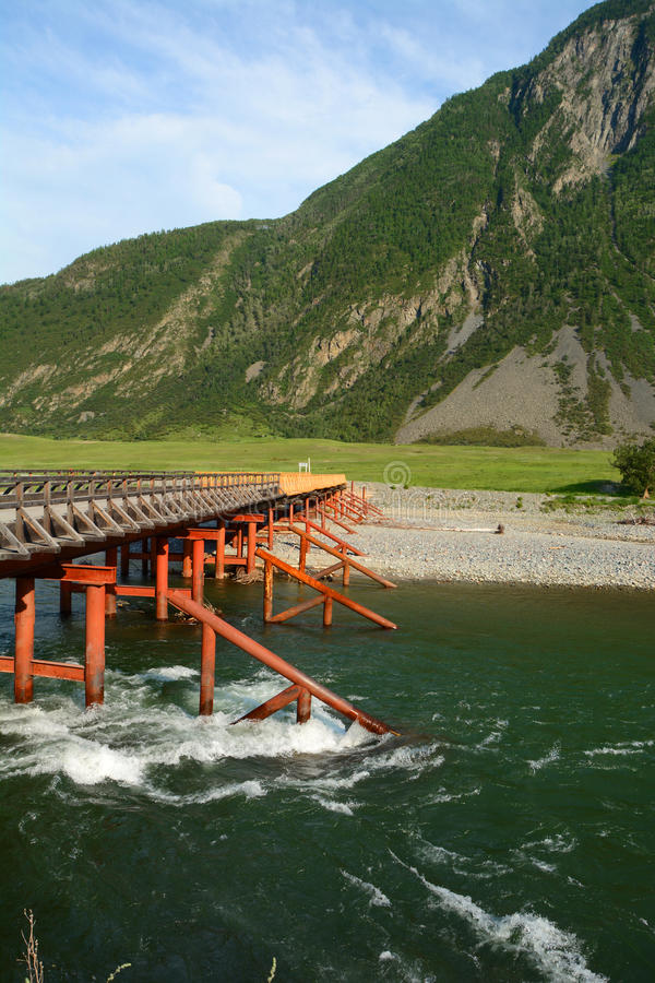Bridge. Bashkaus river flows between hills in Altai mountains. Altay Republic, Siberia, Russia royalty free stock images