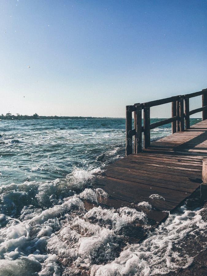 Bridge on the beach stock photo