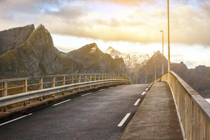 Bridge and beautiful mountain landscapes, Norway royalty free stock image