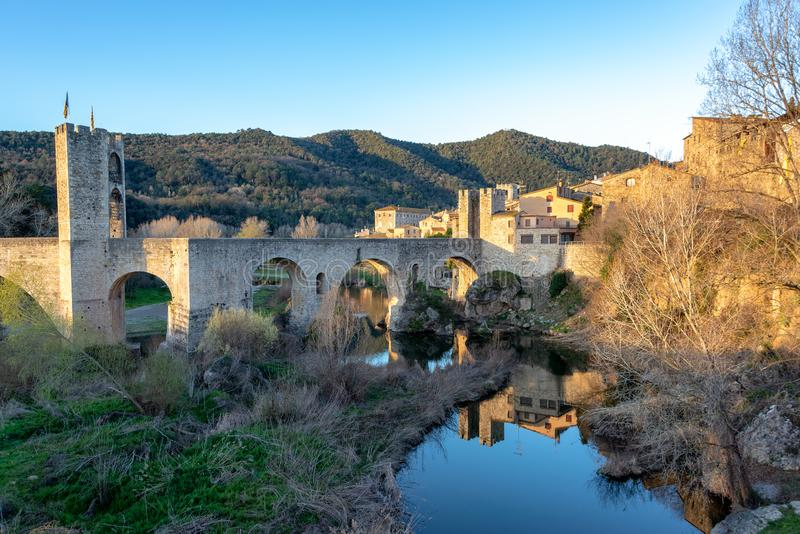 Bridge of Besalu View royalty free stock photos