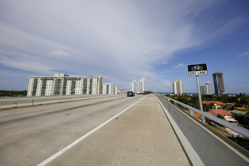 Bridge bike lane. Bike lane on a causeway bridge in Miami stock images